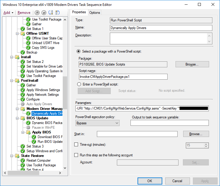 Task Sequence with Modern Driver Management script