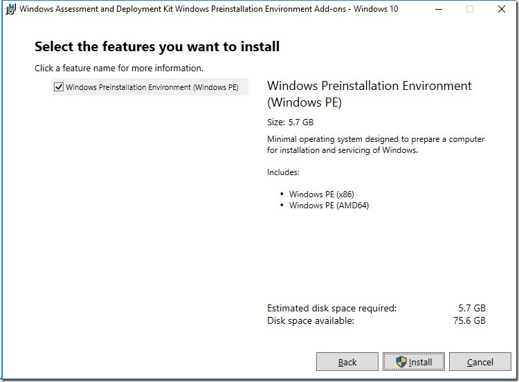 Installing Windows ADK 10 v1809 and WinPE Addon Unattended