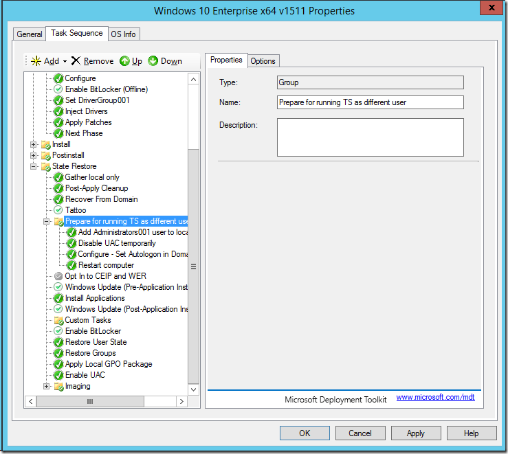 Running the MDT 2013 Update 2 Task Sequence as a Different