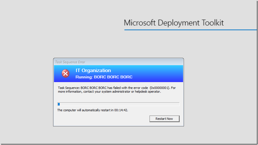 Extend the ConfigMgr Task Sequence Error Dialogue Timeout