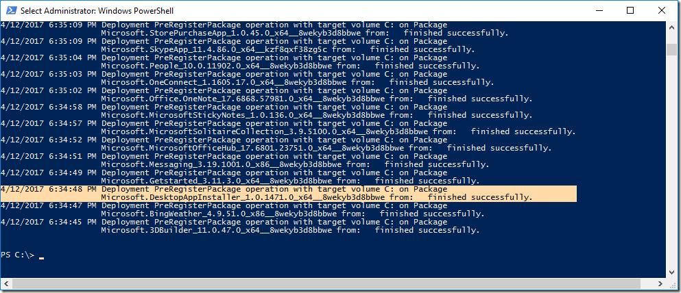 PowerShell listing of app preventing Sysprep