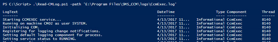 Read CMLogs with Powershell and Hello World! – Deployment