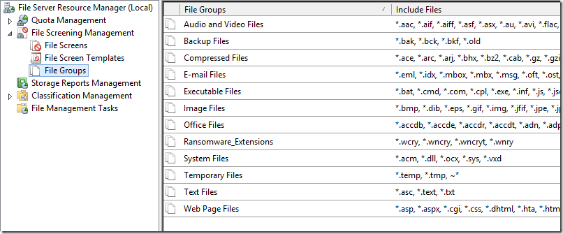 Using File Screen to block Ransomware like WannaCry on
